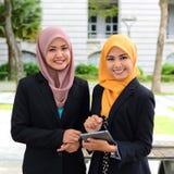 Jonge onderneemsters die informatie over laptop delen Stock Afbeeldingen