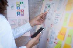 Jonge ontwerper planning voor toepassing die zich in bureau ontwikkelen Het ontwerpconcept van de gebruikerservaring royalty-vrije stock afbeeldingen