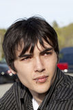 Jonge openlucht het portret doordringende lip van de tienermens Stock Foto