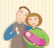 Jonge ouders en de baby Royalty-vrije Stock Afbeeldingen