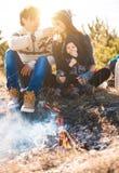 Jonge ouders met jong geitje op de bergen Stock Afbeelding