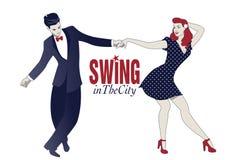 Jonge paar dansende schommeling, lindy hop of rots - en - broodje vector illustratie
