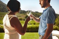 Jonge paar roosterende wijn bij wijnmakerij Stock Fotografie