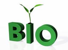 Jonge plant over het BIOwoord Royalty-vrije Stock Foto's