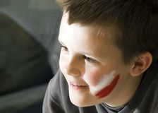 Jonge Poolse teamventilator. stock afbeelding