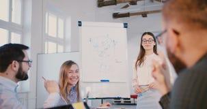 Jonge professionele donkerbruine bedrijfsvrouw die in glazen project voorleggen aan creatief gemengd rasteam van beambten stock video