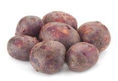 Jonge purpere aardappels stock afbeelding