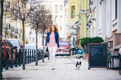 Jonge redhaired Kaukasische vrouw die langs Europese straat met kleine Chihuahua-rassenhond lopen van twee kleuren op leiband Bew stock fotografie