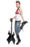 Jonge rotsvrouw met elektrische gitaar Royalty-vrije Stock Afbeelding
