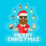 Jonge santa hipster mensen met vape Vlakke vectorillustratie vaping winkel Wolkenbrieven Vrolijke Kerstmis Stock Fotografie
