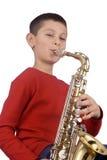 Jonge saxofoonspeler Stock Foto's