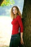 Jonge schoonheidsvrouw openlucht royalty-vrije stock foto