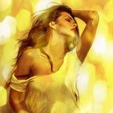 Jonge sensuele romantische schoonheidsvrouw. Multicolored foto van de pop-artstijl. Royalty-vrije Stock Afbeeldingen