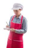 Jonge serveerster die orde nemen, die op witte achtergrond wordt geïsoleerd Stock Foto's