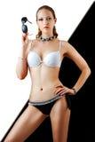Sexy slanke vrouw in beige bikini Royalty-vrije Stock Foto
