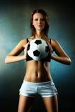 Jonge sexy voetbalster Stock Afbeeldingen