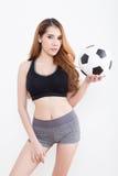 Jonge sexy vrouw met voetbalbal stock afbeeldingen