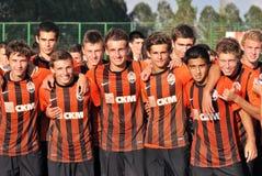 Jonge Shakhtar teamsportretten Stock Foto's
