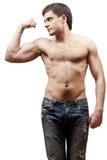 Jonge shirtless spiermens Stock Foto