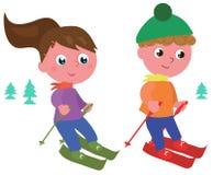 Jonge skiërs geïsoleerde vector Royalty-vrije Stock Foto's