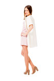 Jonge slanke mooie vrouw in het roze kleding stellen Royalty-vrije Stock Afbeelding