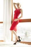 Jonge slanke sexy vrouw in rode kleding stock fotografie