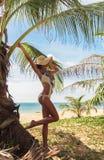 Jonge slanke vrouw dichtbij palm op tropische vakantieoverzees Stock Foto