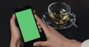 Jonge smartphone van de bedrijfsvrouwenholding met groene het scherm dichte omhooggaand in koffie stock footage