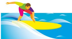 Jonge sportman die en op de golf surfen berijden Royalty-vrije Stock Fotografie