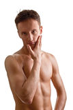 Jonge sportman met een naakt torso Stock Fotografie