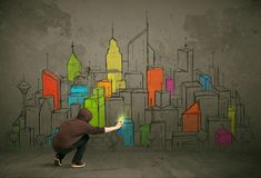 Jonge stedelijke schilderstekening Royalty-vrije Stock Afbeeldingen