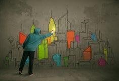 Jonge stedelijke schilderstekening Royalty-vrije Stock Foto