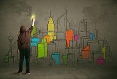 Jonge stedelijke schilderstekening stock fotografie