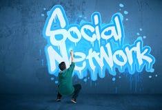 Jonge stedelijke schilderstekening Royalty-vrije Stock Afbeelding