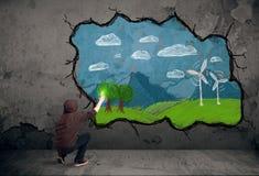 Jonge stedelijke schilderstekening Stock Afbeelding