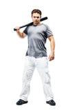 Jonge sterke mens met knuppel stock afbeelding