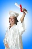 Jonge student met diploma Stock Afbeeldingen