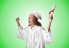 Jonge student met diploma op wit Stock Afbeeldingen