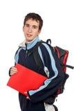 Jonge student met rugzak stock afbeeldingen