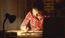 Jonge studente die aan de computer bij nacht werken stock afbeelding