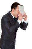 Jonge succesvolle die zakenman in een pak, op wit wordt geïsoleerd Stock Fotografie