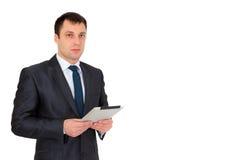 Jonge succesvolle die zakenman in een pak, op wit wordt geïsoleerd Royalty-vrije Stock Foto
