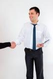 Jonge succesvolle die zakenman in een pak, op wit wordt geïsoleerd Royalty-vrije Stock Afbeeldingen