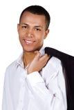 Jonge succesvolle student op wit Stock Afbeeldingen