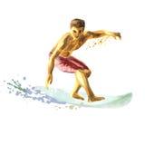 Jonge surfer op een raad die een golf vangen Royalty-vrije Stock Afbeeldingen
