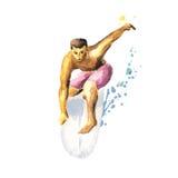 Jonge surfer op een raad die een golf vangen Stock Afbeeldingen