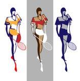 Jonge tennisspelers vector illustratie