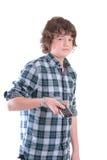 Jonge tienerjongen met verre TV royalty-vrije stock foto