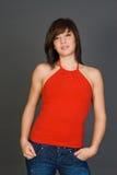 Jonge toevallige geklede vrouw stock foto