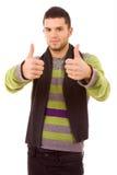 Jonge toevallige mensen tumbs omhoog Royalty-vrije Stock Fotografie